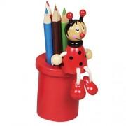 Fa ceruzatartó 5 db színesceruzával, katicás