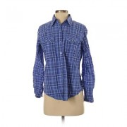 New York & Company Long Sleeve Button Down Shirt: Blue Print Tops - Size Small