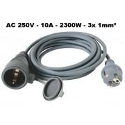 Kültéri hálózati hosszabbító 10m 250V 10A 2300W NV 5-10/GY