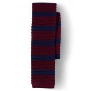 ランズエンド LANDS' END メンズ・シルク・メランジ・ストライプ・ニット・タイ/ネクタイ(バーガンディストライプ)