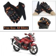 AutoStark Gloves KTM Bike Riding Gloves Orange and Black Riding Gloves Free Size For Hero Karizma ZMR