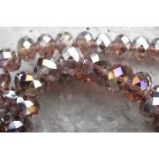Facetterade glaspärlor - Lila med AB 12X8mm 1 sträng