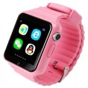 Ceas GPS Copii si Seniori iUni V8K Touchscreen 1.54 inch Pedometru Bluetooth Notificari Camera Pink Bonus Bratara Roca Vulcanica unisex