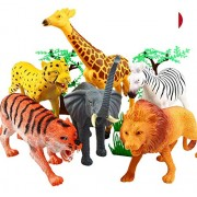 Protokart 20 Piece Large Jungle Animals Toys Set, Wild Animals Figures Set for Kids, Wild Animal Kingdom Figures Set for Kids, Large Size, Assorted Animal Figures, Non-Toxic, with JUNGLE WALLPAPER / MAT