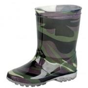 Merkloos Groene peuter/kinder LED regenlaarzen met leger print 21 - Regenlaarzen