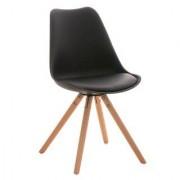 Sediadaufficio Sedia per Ospiti o Studio ALMA, modello di design con gambe in legno e seduta in pelle nera
