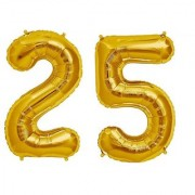 De-Ultimate Solid Golden Color 2 Digit Number (25) 3d Foil Balloon for Birthday Celebration Anniversary Parties