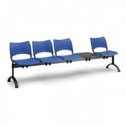Kovo Praktik Plastové lavice VISIO, 4-sedák + stolek, černé nohy modrá