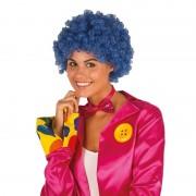 Geen Clownspruik met blauwe krulletjes verkleed accessoire