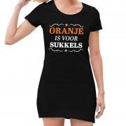 Bellatio Decorations Zwart Oranje is voor sukkels jurk dames L - Feestjurkjes