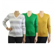 Women's Retro Fox Junior's Long Sleeve Knit V-Neck Sweaters 1, 2 or 3Pack S (0/2) Pebble, Lime & Dark Mustard