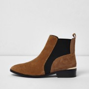 River Island Womens Tan suede chelsea ankle boots