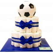 Luiertaart - Pampertaart Jongen Voetbal - 47 Pampers - Blauw Wit