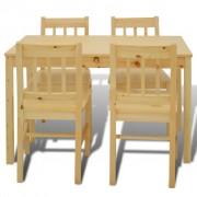 vidaXL Eettafel met 4 stoelen hout naturel