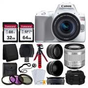 PHOTO4LESS Canon EOS Rebel SL3 Cámara réflex digital (blanca, EF-S 18-55 mm f/4-5.6 IS STM Lente + 58 mm 2X teleobjetivo profesional y 58 mm gran angular lente + tarjeta de memoria de 32 GB y 64 GB + funda + trípode + kit de filtro de 3 piezas)