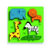 DJECO Drewniana układanka zwierzęta na łące, puzzle drewniane Kimi DJ01023