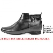 BXXY 3.5 Inch Black Height Increasing Formal And Casual Pu Leather Derby Boots for All Ocassions