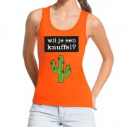 Bellatio Decorations Wil je een Knuffel tekst tanktop / mouwloos shirt oranje dames