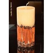 Designkaarsen com Kaneel / koffie kaars, super XXL, H: 20 cm rond - kaarsen