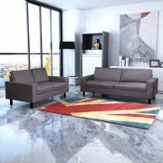 vidaXL Mörkgrå soffgrupp, 2-sits och 3-sits soffa