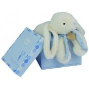 Doudou lapin bonbon bleu+coffre range pyjama 45 cm