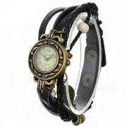 Pulsera banda PU reloj de cuarzo analogico para las mujeres - negro