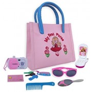 Calaqai My First Purse - Pretend Play Set for Girls with Handbag, Flip Phone Car Keys, Kids Credit Card, Hair Comb, Mirror, Sun Glasses & Camera Great Educational Toy Fun Learning