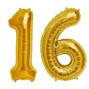 De-Ultimate Solid Golden Color 2 Digit Number (16) 3d Foil Balloon for Birthday Celebration Anniversary Parties