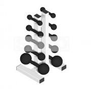 Suporte de Chão Completo + 10 Halteres de Ferro Fundido Pares de 1 a 5 Kg