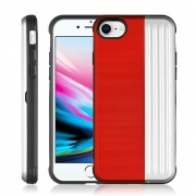 Angibabe TPU + PC Protective Case for iPhone 8 & 7 with Card Slot and Holder (Red+Silver)