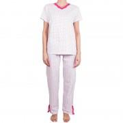 Molvy Dámské pyžamo Molvy bílé s růžovými puntíky M