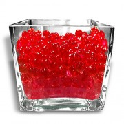 Kuhu Creations Supreme Colorful Pearl Shape Water Absorbing Crystal Mud Soil Aqua Balls. (10 Small Bags, Red Color Bags)