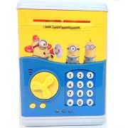 VSHINE ATM for kids Anti theft Money Safe ATM Smart Electronic Lock Piggy Bank , Coin/Note Safe - Blue (Yellow)
