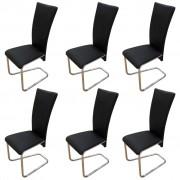vidaXL 6 pcs Artificial Leather Iron Black Dining Chair