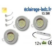 kit Spot MR16 orientable blanc 21 LED blanc chaud perçage 70mm 12V ref kmr16-06