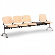 Kovo Praktik Dřevěné lavice ISO II, 4-sedák + stolek, chrom nohy