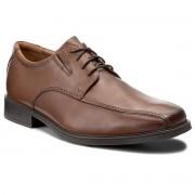 Clarks Półbuty CLARKS - Tilden Walk 261300957 Dark Tan Leather