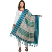 Meia Cream and Turquoise Colored Striped Patterned Bhagalpuri Silk Dupatta