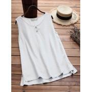 Meco Plus Size Women Vintage Sleeveless Cotton Tops Blouse