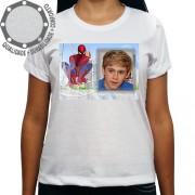 Camiseta Com Sua Foto Moldura Homem Aranha Pose