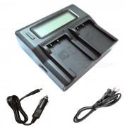 Ismartdigi BLS5 LCD cargador de bateria de doble ranura para olympus BL-S5-negro