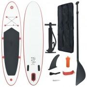 vidaXL Conjunto prancha de paddle SUP insuflável vermelho e branco