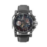 【50%OFF】アリゲーターベルト シースルー ロングパワーリザーブ ウォッチ フェイス:ブラック ベルト:ブラック ファッション > 腕時計~~メンズ 腕時計