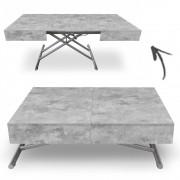DECOME Table basse extensible relevable grise effet béton Cassida