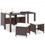 vidaXL Set mobilier de exterior 11 piese, poliratan, maro