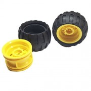 Lego Parts: Off-Road Wheels Tire and Rim Bundle (2) Black 43.2mm x 26mm Balloon Tires (2) Yellow 30.4mm x 20mm Wheel Rims