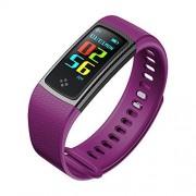 Redlemon Smartwatch Pulsera Inteligente Bluetooth con Pantalla a Color, Resistente al Agua, Monitor Cardiaco, Medidor de Presión Arterial, Notificación de Mensajes y Llamadas, Android y iOS, Morado