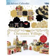 3D adventskalender A4+ - bouw een dorpje in kerstsfeer - goud - rood - zwart