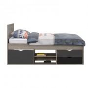 Bed Tempo incl. bedverhoger - grijs eikenkleur - 90x200 cm - Leen Bakker