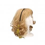Merkloos Festival haarband met veren geel